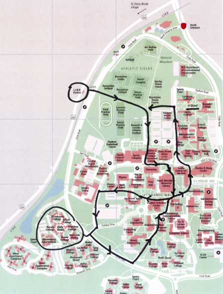 Tentative route for on-campus walking tour