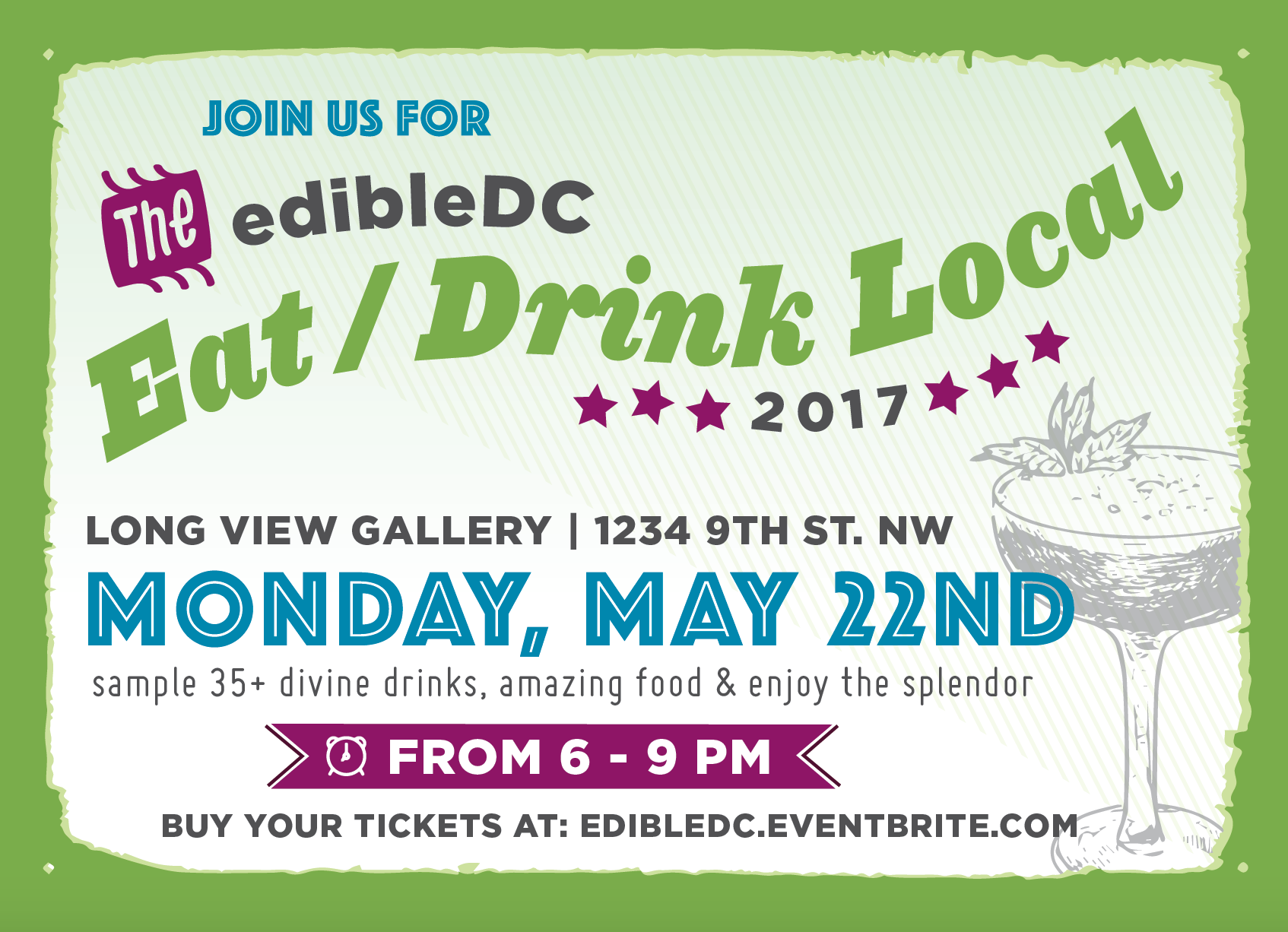 Flyer for EdibleDC Eat Drink Local Event