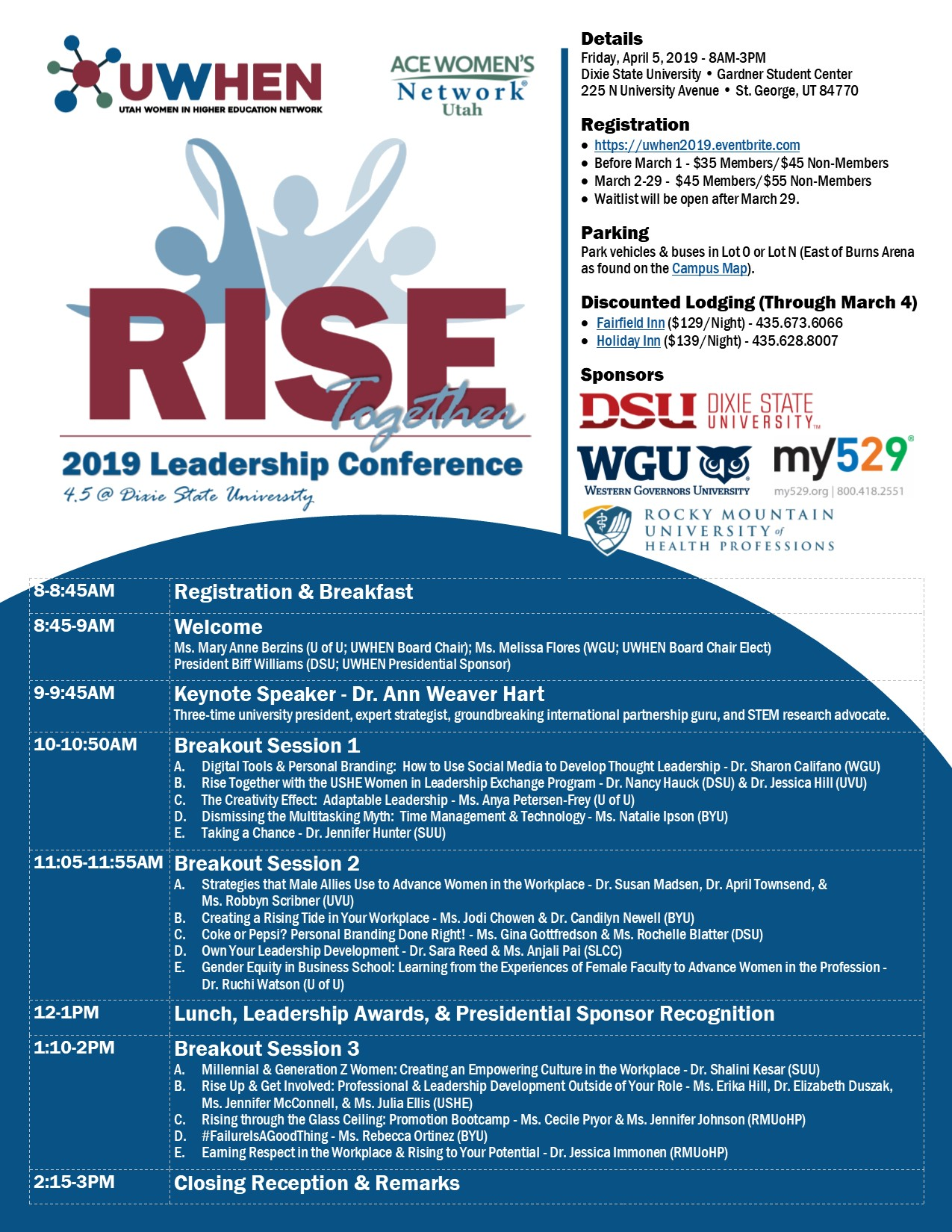 Uwhen 2019 Leadership Conference Rise Together Registration Fri
