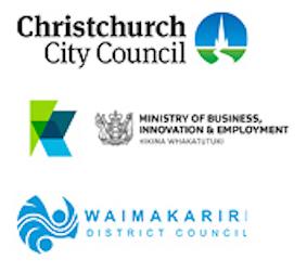 CCC Logo, MBIE Logo, Waimakariri Logo