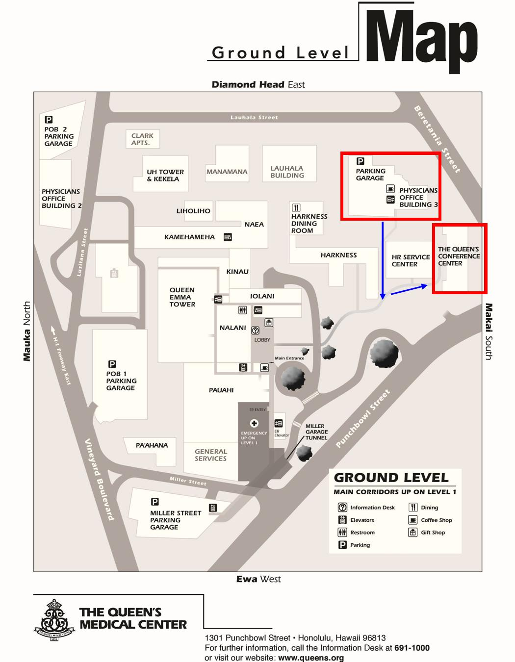 Map of Queen's Conference Center and POB III Parking Garage