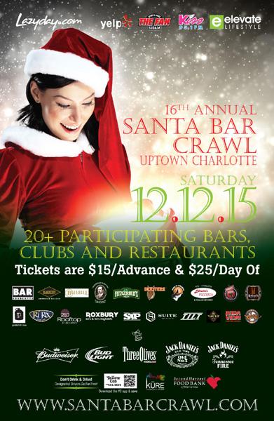 Uptown Charlotte Santa Bar Crawl 2015