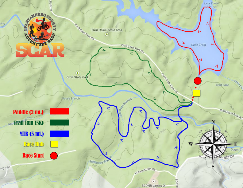 Map outlining race legs, distances, and directions.