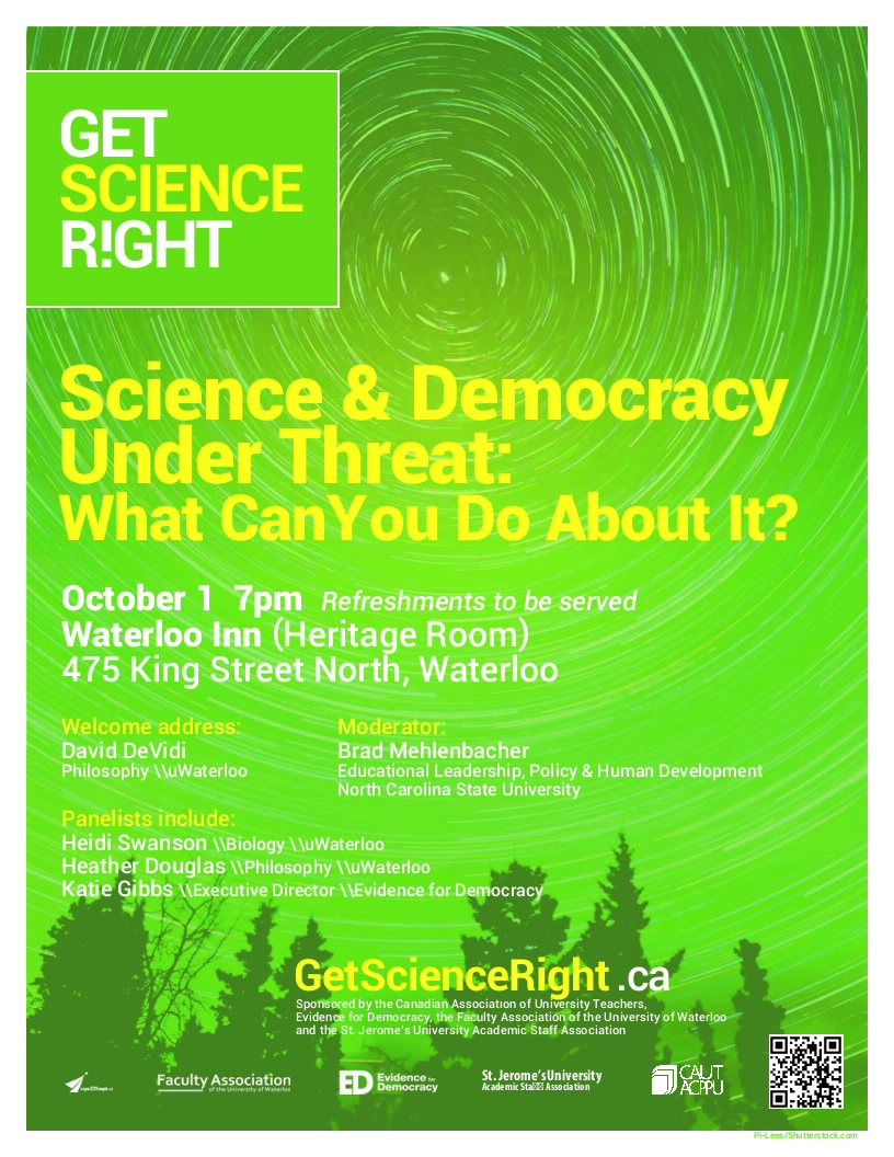 Poster describing Get Science Right event