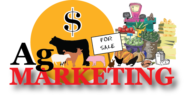 Ag Marketing picture of produce stand, animals, and farmer