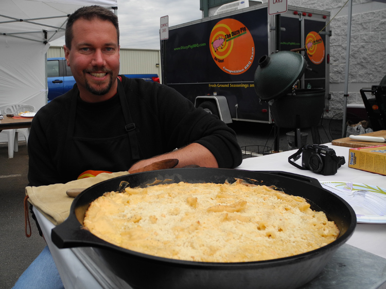 Macaroni and cheese baked on the Big Green Egg by Jason Strawhorn.