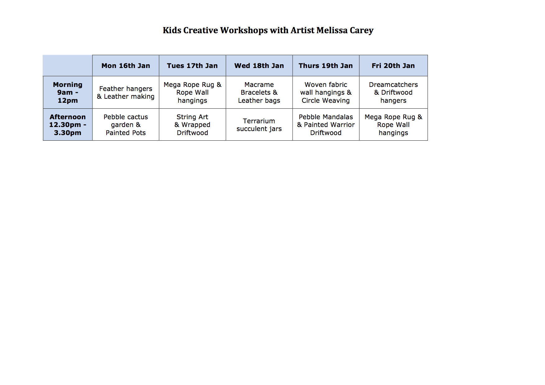 Kids creative workshops timetable