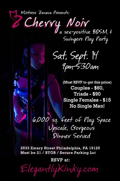 Mistress Zeneca's Cherry Noir - a BDSM Club and Swingers Play Party