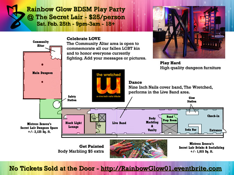 Rainbow Glow BDSM Play Party Floorplan
