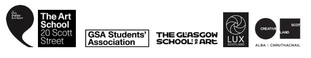 Partner logos (The Art School, Glasgow School of Art, Glasgow School of Art Students Association, LUX Scotland, Creative Scotland)