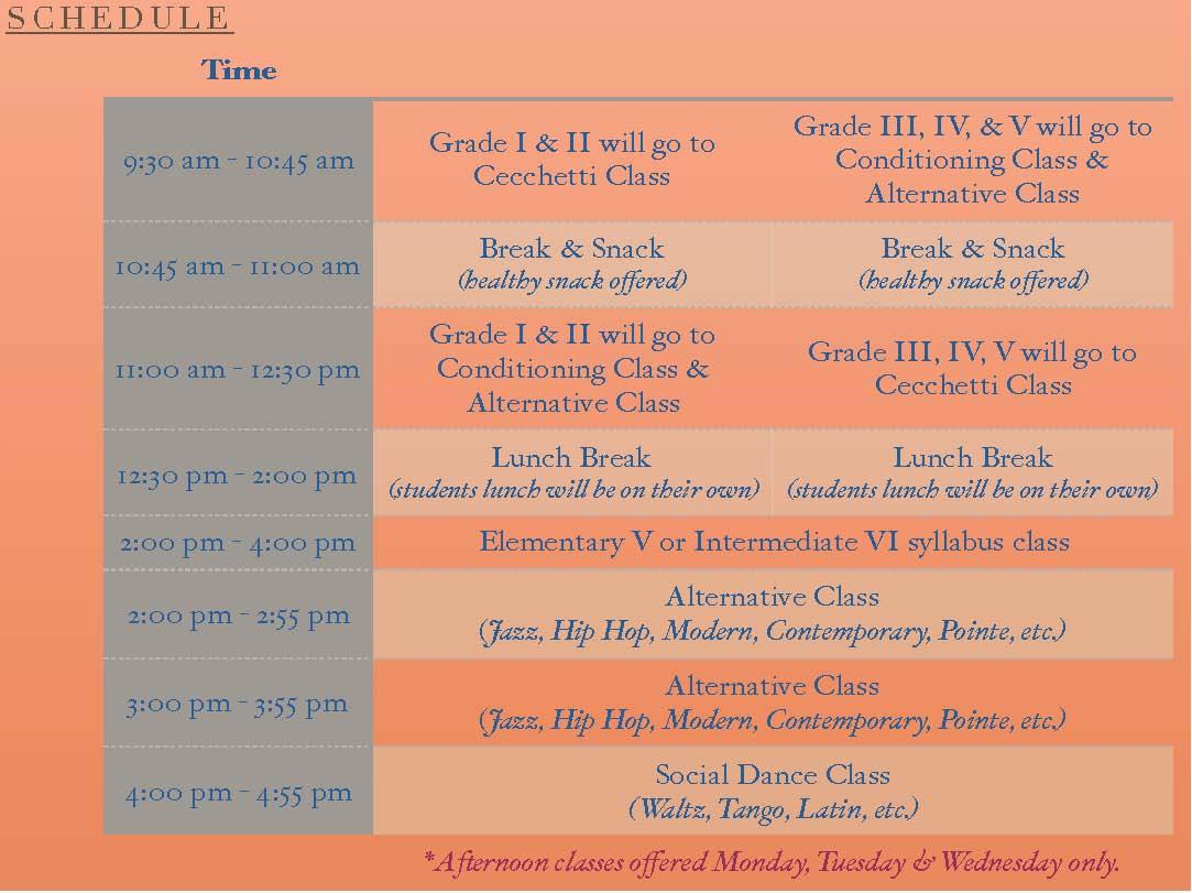 Cecchetti Summer 2017 Schedule