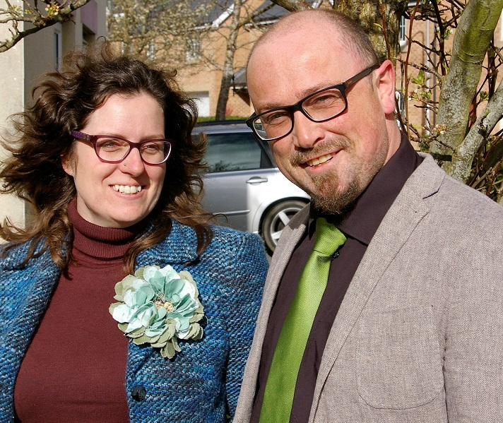 Pippa Pemberton, local Green Party candidate and Grenville Morgan Ham, Wales Green Party Leader