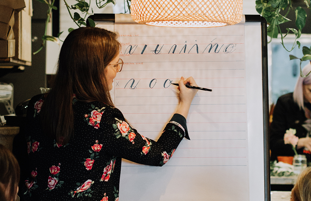 Calligraphy instructor teaches group of students
