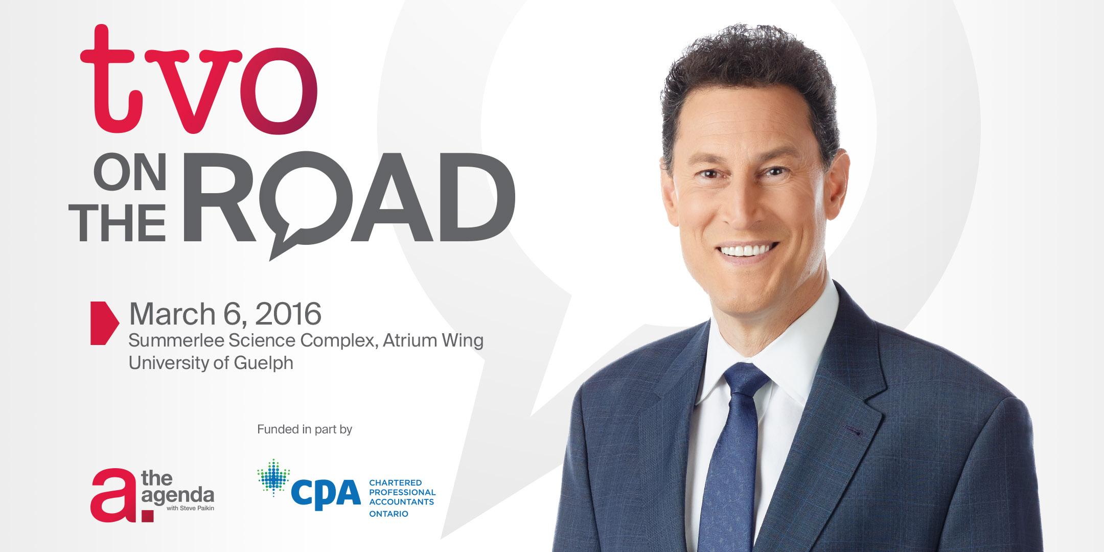 TVO On The Road logo, Steve Paikin host of The Agenda