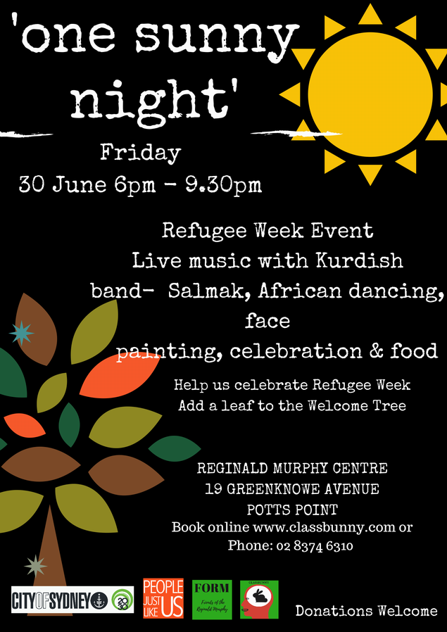 'One Sunny Night' Refugee Week event, live music with Kurdish band—Salmak, African dancing, face painting, celebration & food