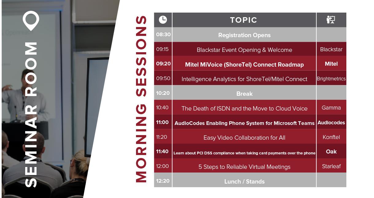 Morning seminar schedule