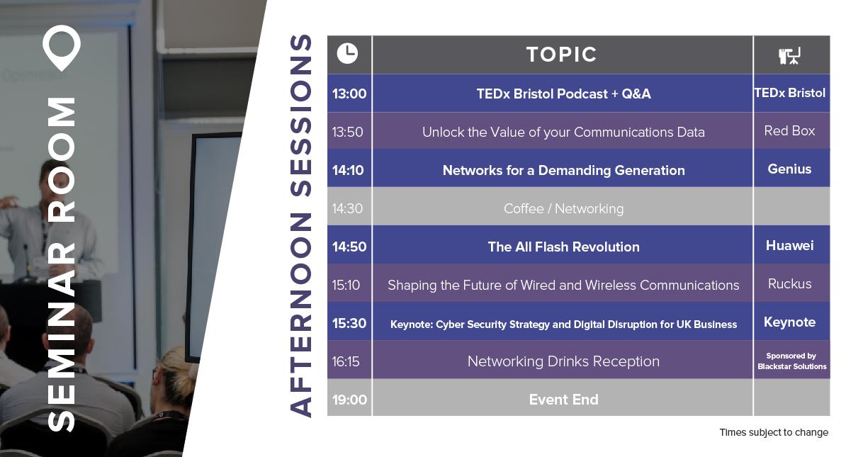 afternoon seminar schedule