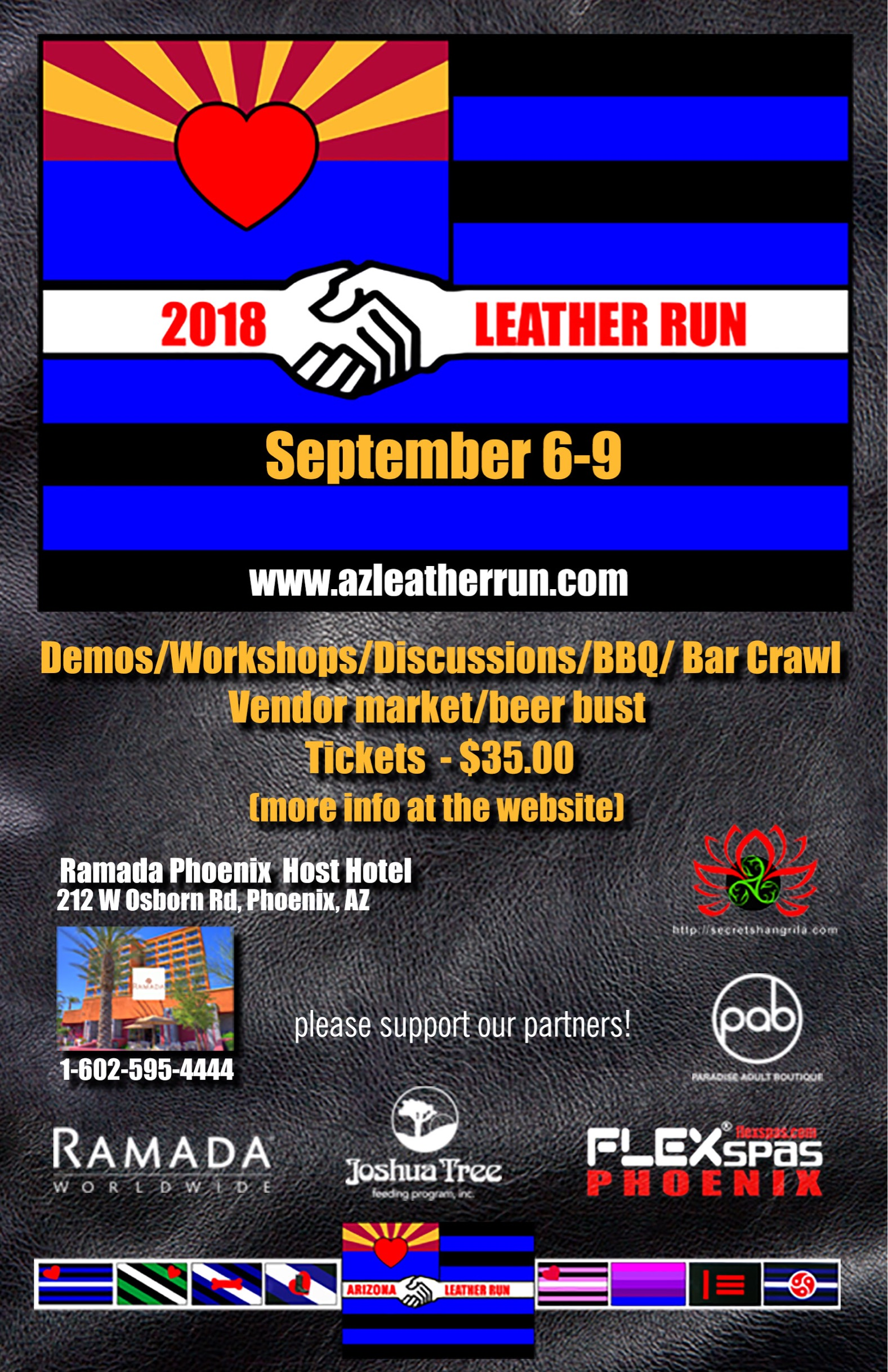 Must be an badge holding attendee of the AZ Leather Run to attend!