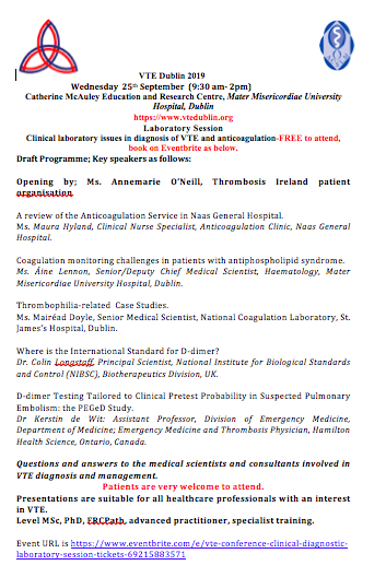 VTE Conference Clinical Diagnostic Laboratory Session