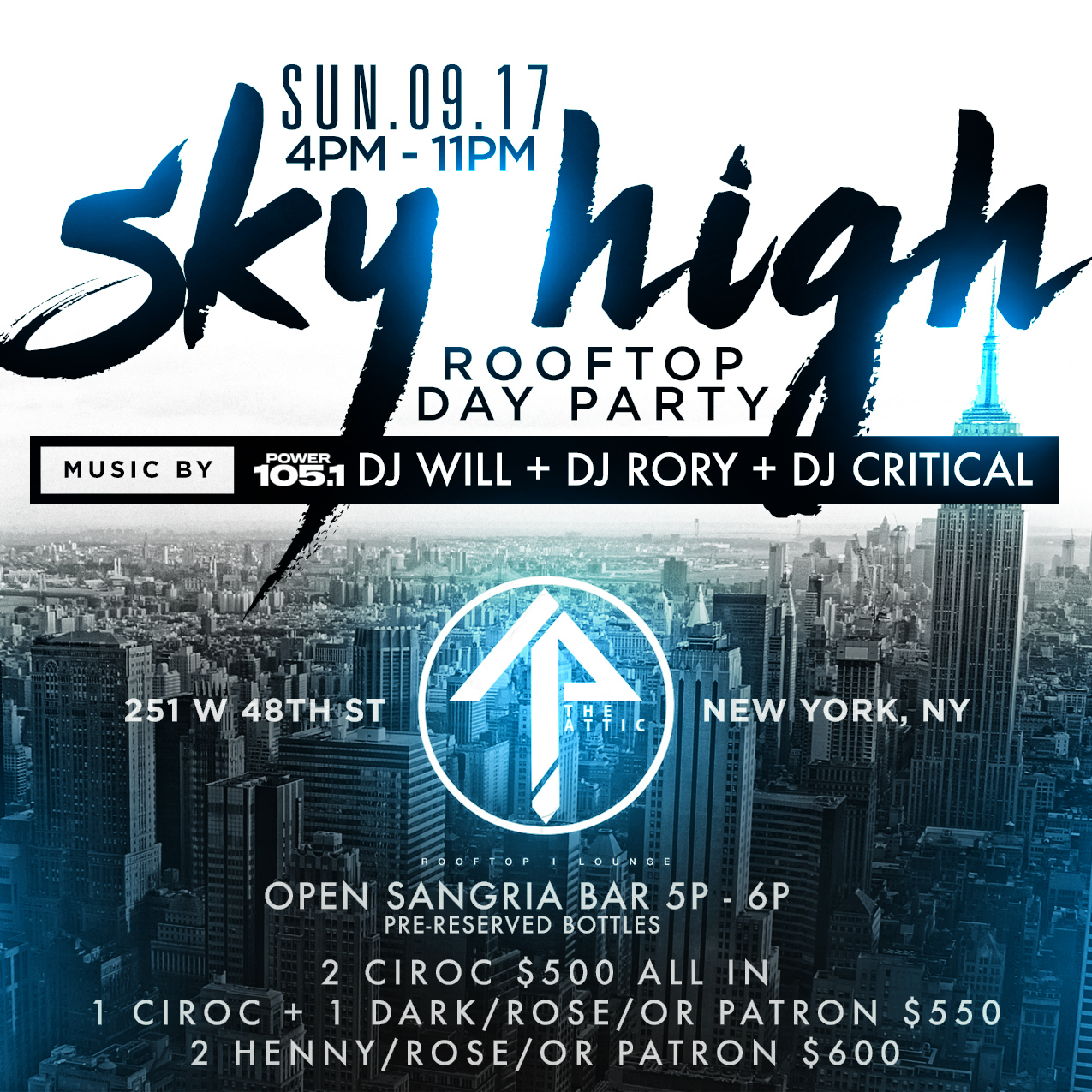sky high day party at attic rooftop sun sept 17 17 sep 2017
