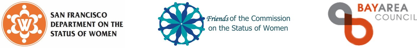logos of department on the status of women, friends of the commission, and bay area council