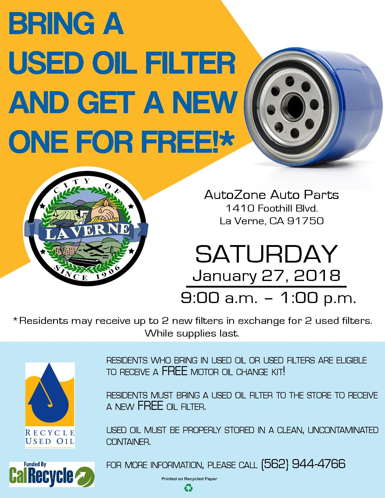City of la verne used motor oil recycling event filter for Motor oil recycling center