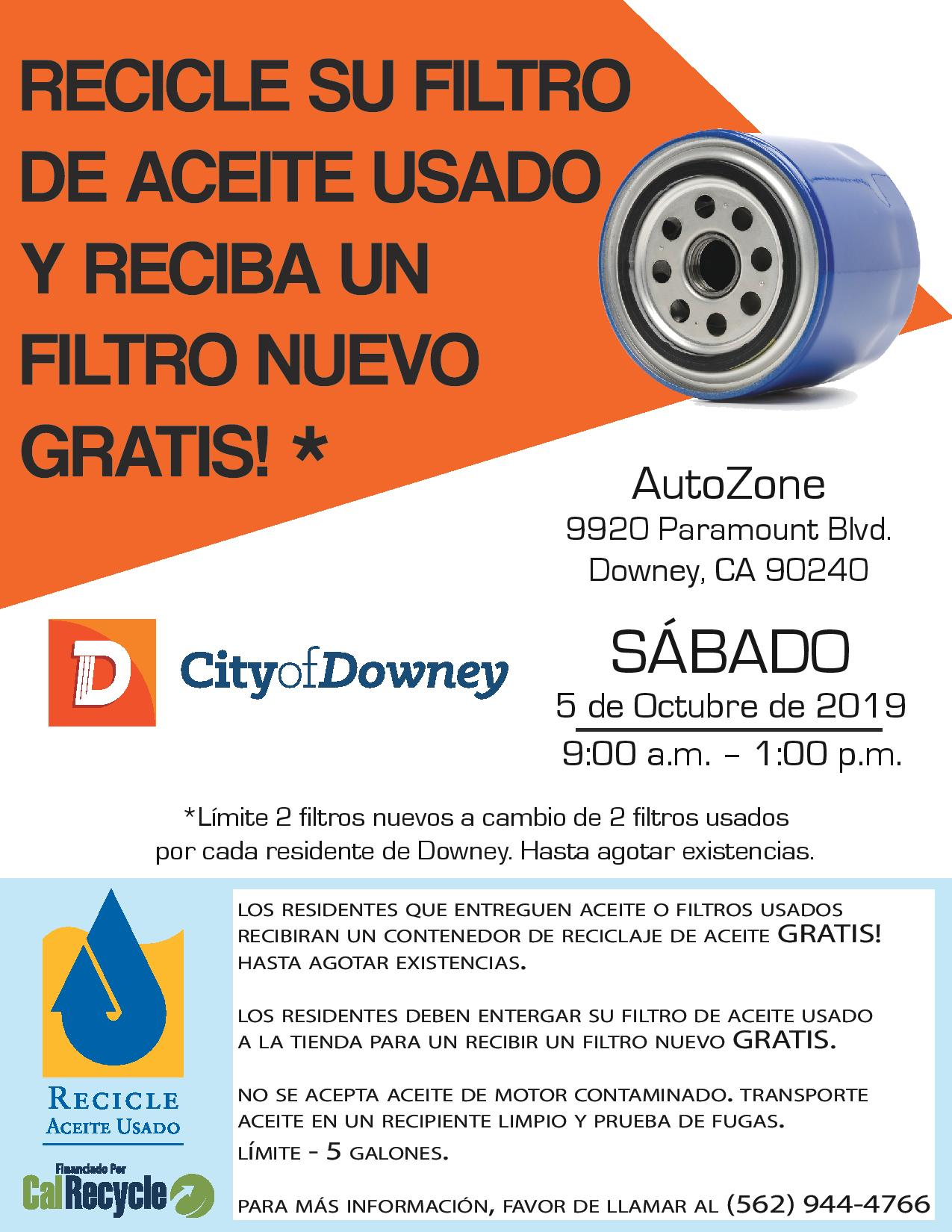 City of Downey FREE Used Motor Oil Filter Exchange