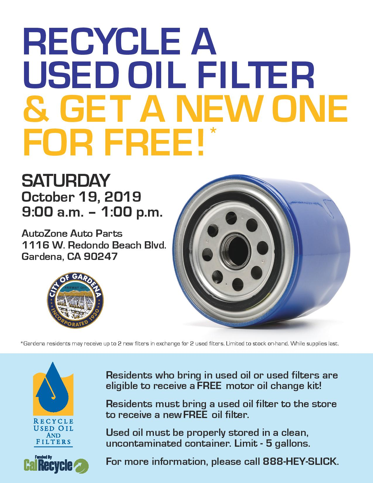 City of Gardena Used Oil Filter Exchange @ AutoZone Tickets