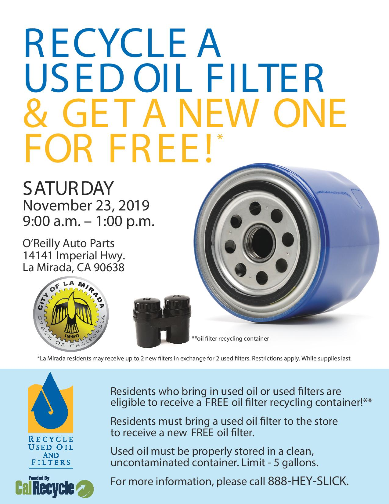 City of La Mirada FREE Used Oil Filter Exchange @ O'Reilly