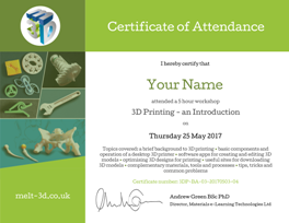 Thumbnail image of the Certificate of Attendance