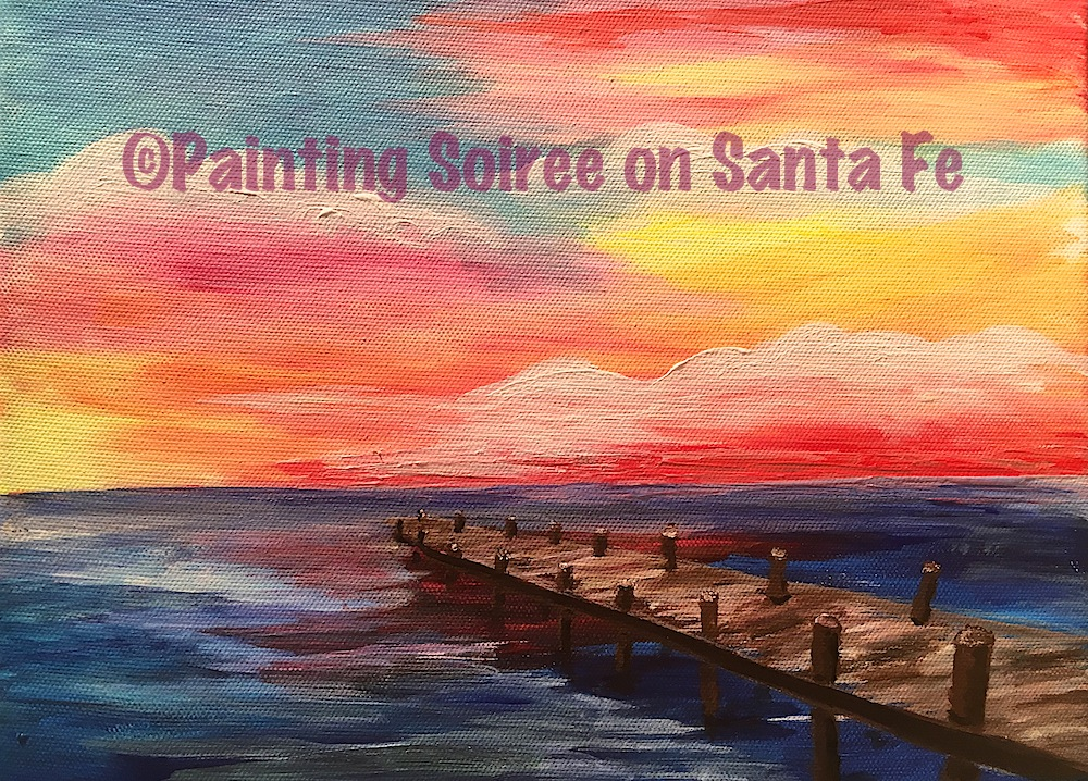 Painting of a pier over water