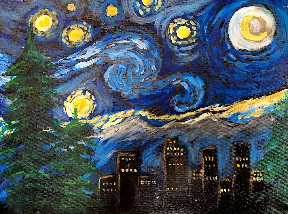 Van Gogh sky over Denver skyline