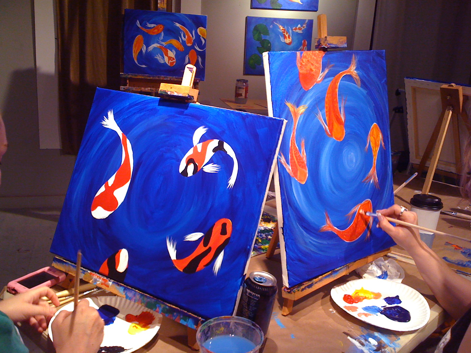 Acrylic painting workshop koi pond 3 8 registration tue for Coy pond accessories