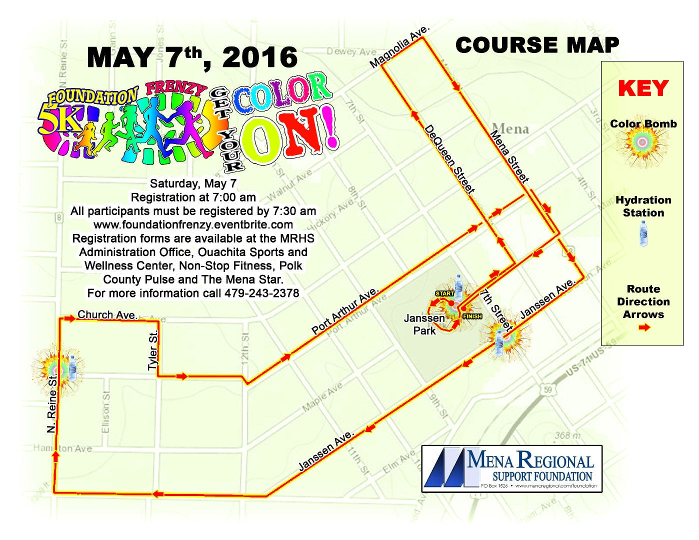 Foundation Frenzy 5K Family Color Run/Walk Route