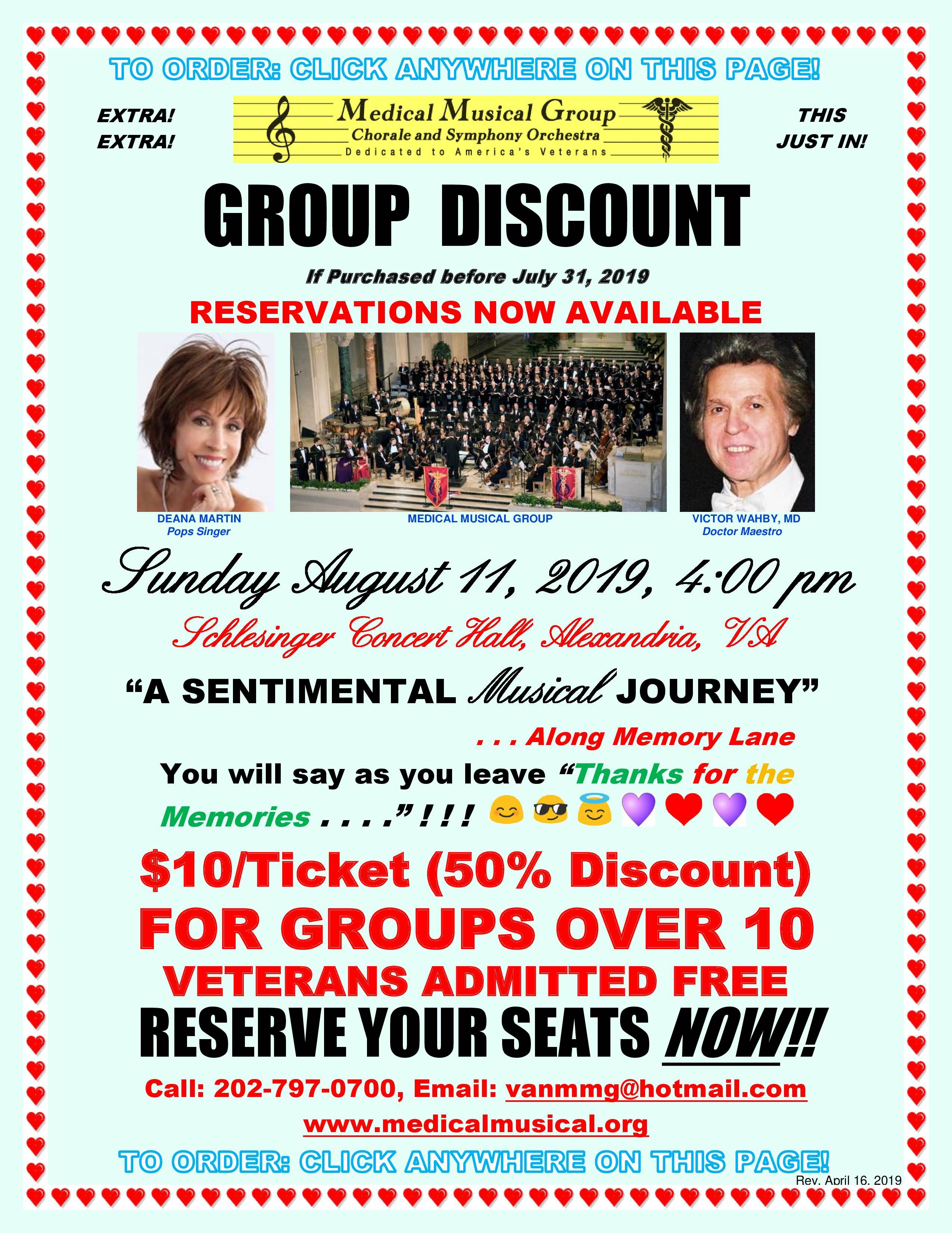 August 2019 Concert Discount Flier