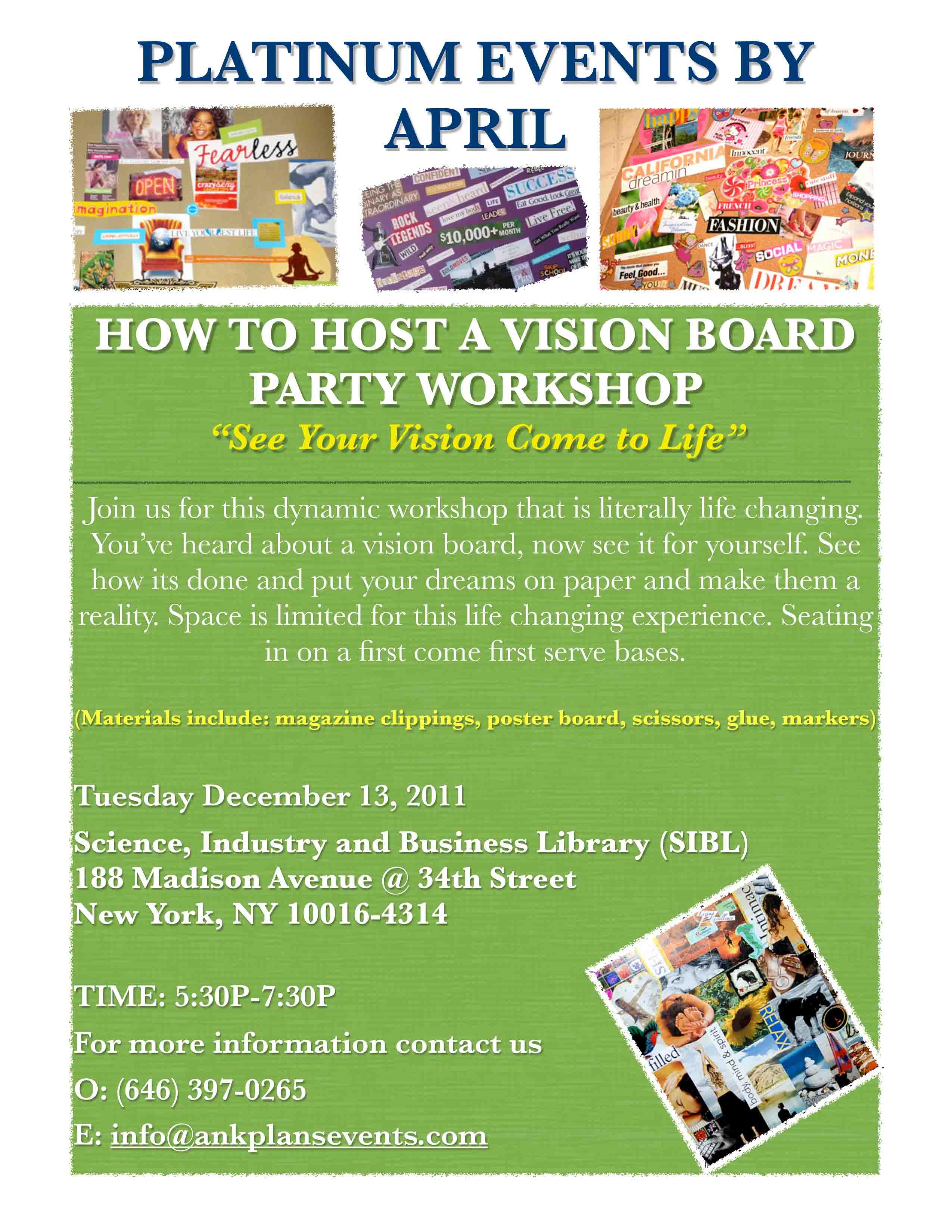 LifeInspired VISION BOARD Workshop « Lebtivity |Events Vision Board