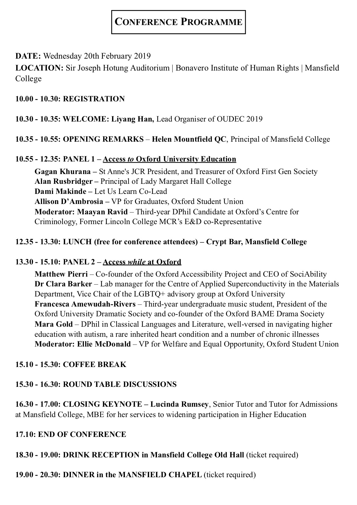 Conference Timetable and Speaker Info
