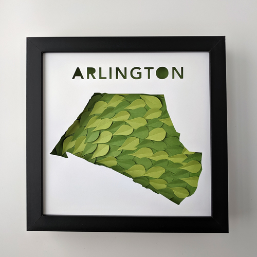 Framed map of Arlington with textured paper leaf collage