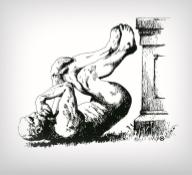 Ig Nobel Thinker Falling off Pedestal