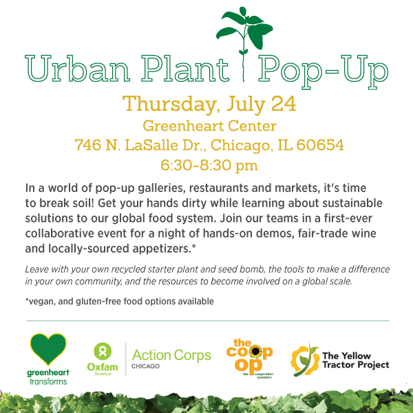 In a world of pop-up galleries, restaurants and markets, it's time to break soil! Get your hands dirty while learning about sustainable solutions to our global food system. Join our teams in a first-ever collaborative event for a night of hands-on demos, fair-trade wine and locally-sourced appetizers*.   Leave with your own recycled starter plant and seed bomb, the inspiration to make a difference in your own community, and the resources to become involved on a global scale.  *vegan, and gluten-free food options available