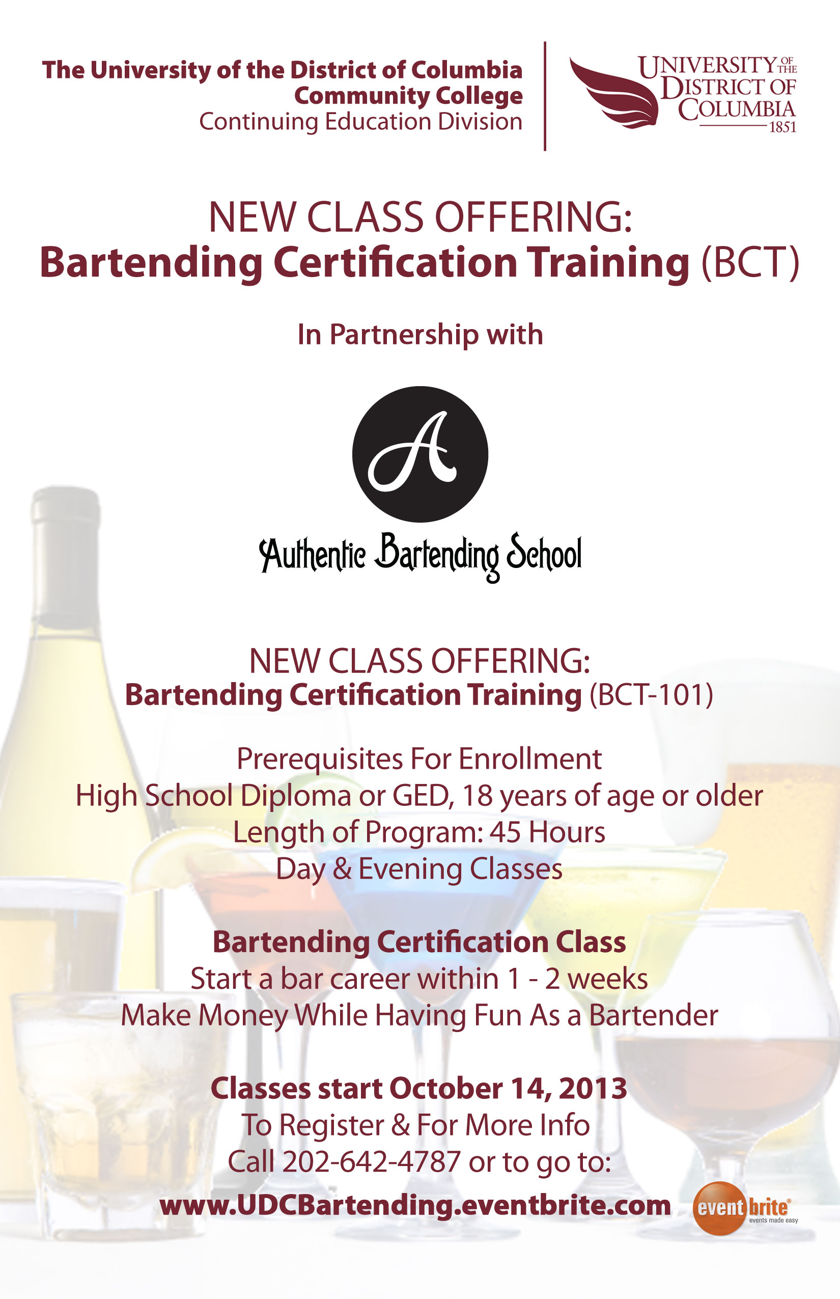 UDC Bartending Class - Authentic Bartending
