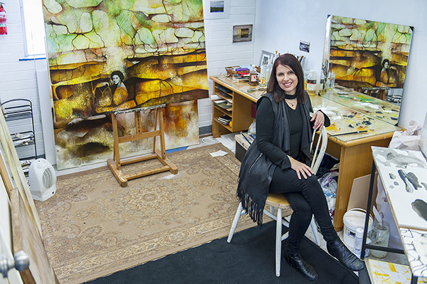 Sue Leeming in her Artsource Ashfield Artist Studio