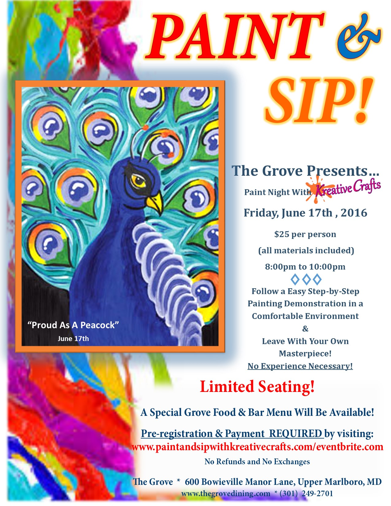Paint sip the grove tickets fri jun 17 2016 at 8 00 for Sip and paint