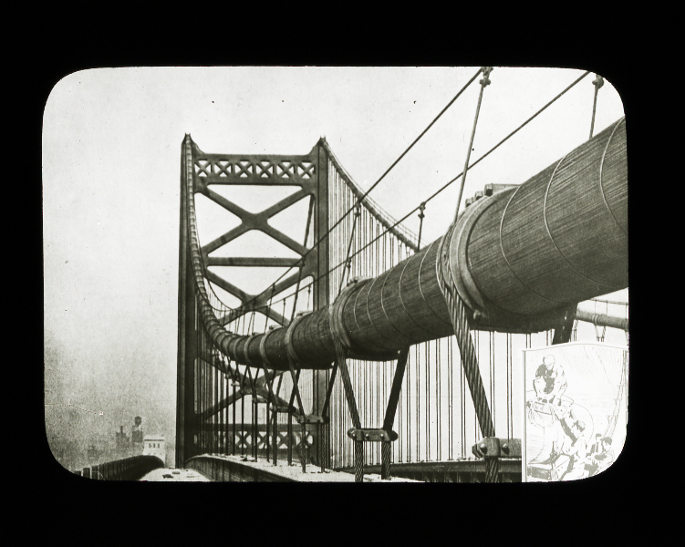 Benjamin Franklin Bridge under construction, lantern slide, lantern slide collection of the Wagner Free Institute of science.