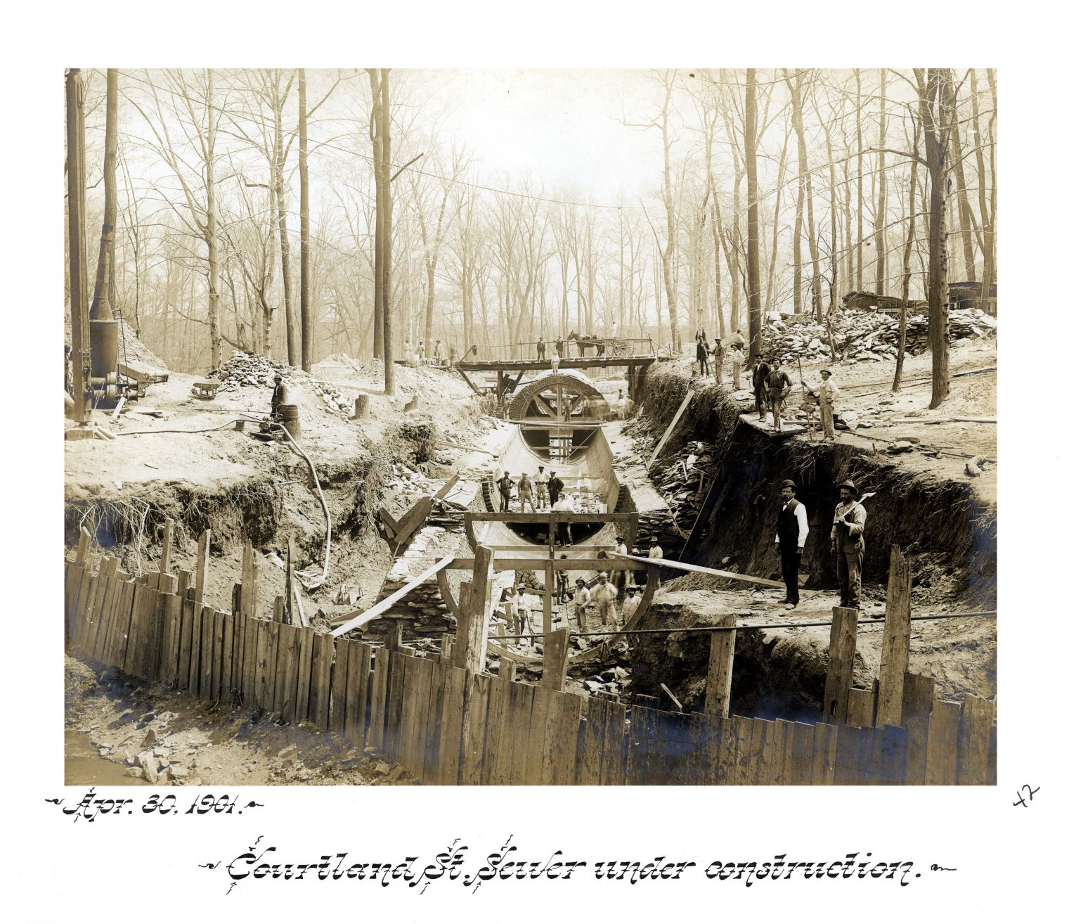 Historical photograph of the Courtland Street sewer under construction, 1901. Courtesy of the Philadelphia Water Department.