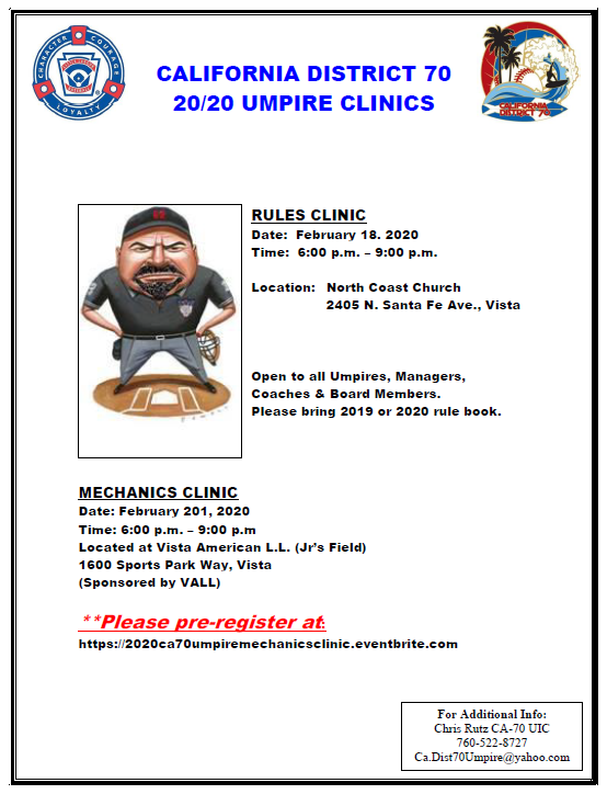 Uic Fall 2020 Calendar.Ca 70 2020 Umpire Mechanics Clinic Tickets Thu Feb 20
