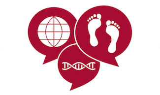 HumBio logo, three red conversation bubbles overlaid, one has a dna, one has a two feet, one has the earth
