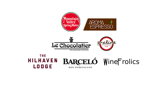 Mountain Valley Spring Water, Aroma Espresso, Le Chocolatier, Praline Pastries, The Hilhaven Lodge, Ron Barcelo, WineFrolics