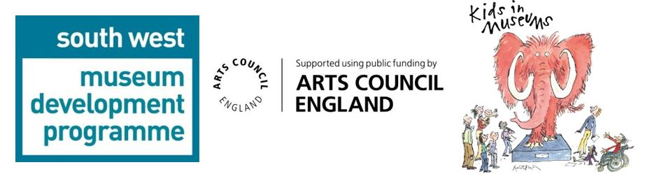 South West Museum Development, Arts Council England and Kids in Museums logos