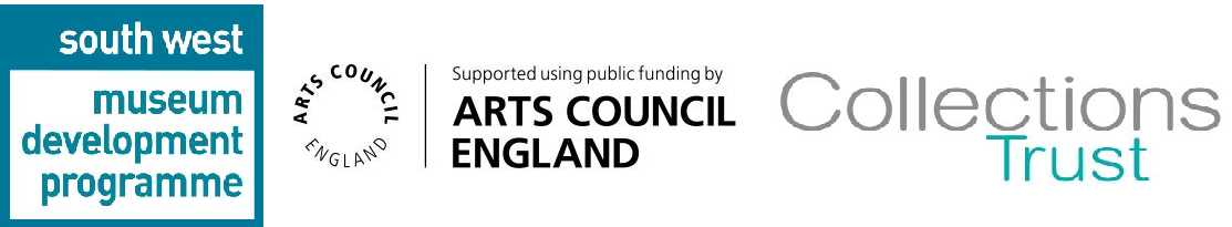 South West Museum Development, Arts Council England and Collections Trust logos